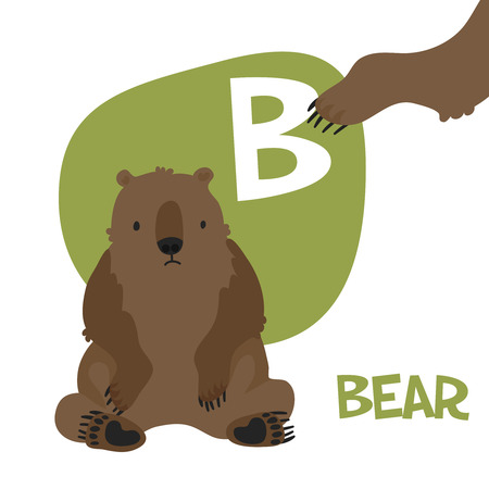 Funny cartoon animals alphabet letter set for kids  B is bear