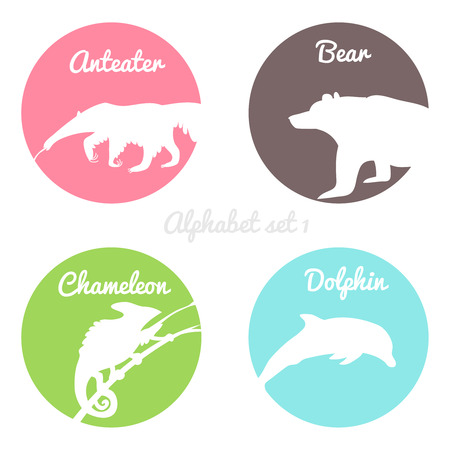 anteater: Color animals silhouettes labels in colorful circles.