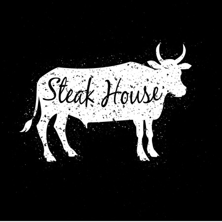 steaks: Grunge scratched white cow silhouette with text inside. Concept of logotype for steak house or restaurant. Vector illustration Illustration