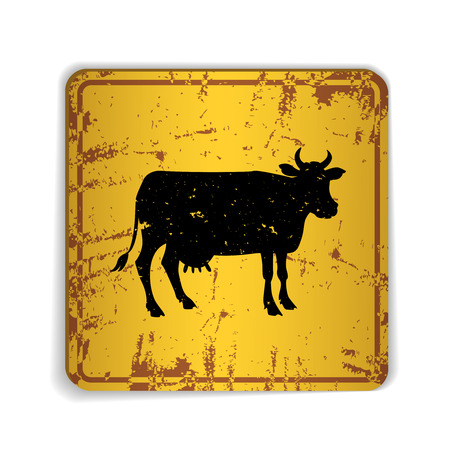 rusty: Old skratched yellow road sign with cow silhouette. Vector illustration