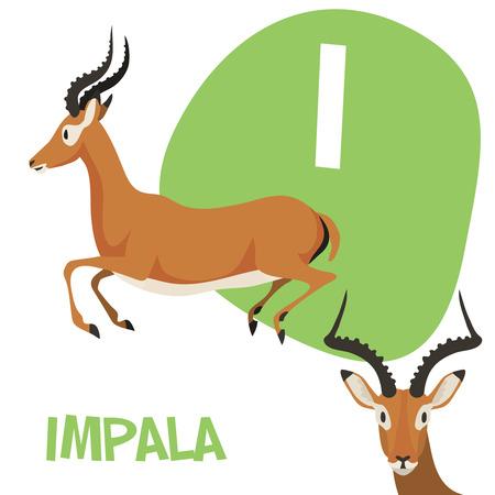 面白い漫画の動物ベクター アルファベット文字の A から Z までの子供のため。私は、インパラです。ベクトル図