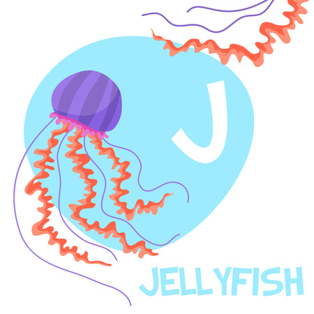 Funny cartoon animals vector alphabet letter for kids from A to Z. J is Jellyfish . Vector illustration Иллюстрация