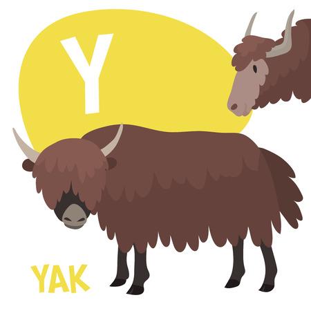 面白い漫画動物のベクトル Z. Y A から子供のためのアルファベットは、ヤクです。ベクトル図  イラスト・ベクター素材