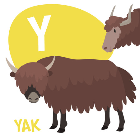 Funny cartoon animals vector alphabet letter for kids from A to Z. Y is yak. Vector illustration Иллюстрация