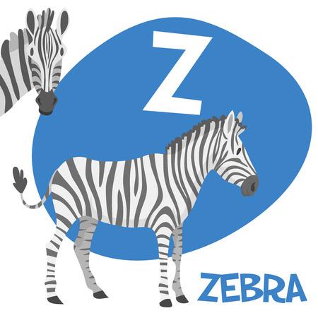 面白い漫画動物のベクトル Z. Z A から子供のためのアルファベットはゼブラ ベクトル図です。