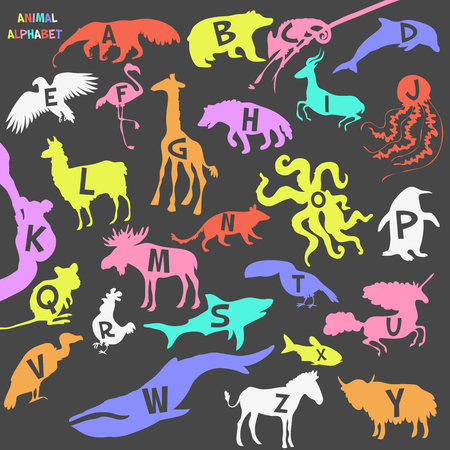 Animal alphabet poster for children. Animal silhouettes with names and letters inside. Poster concept. From a to z . Vector illustration Иллюстрация