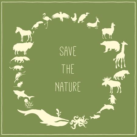 内のテキストとその周辺動物シルエットのコンセプトは、緑のポスター。ベクトル図  イラスト・ベクター素材