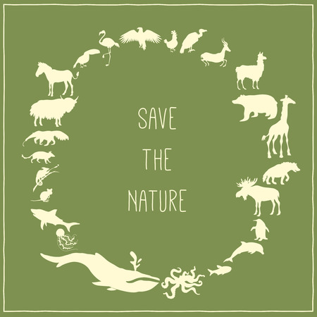 Concept green poster with animals silhouettes around with text inside. Vector illustration