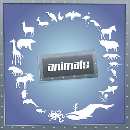 Concept blue poster for boys with animals silhouettes around with text inside. Vector illustration Иллюстрация
