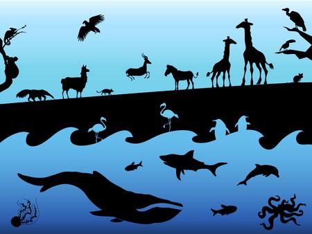動物のシルエットと概念の背景。青の背景に黒。ベクトル図  イラスト・ベクター素材