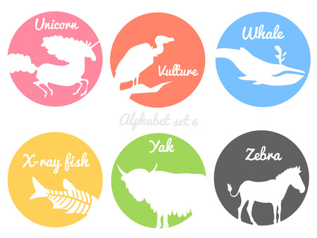 Color animals silhouettes labels in colorful circles. Wild animal logotype or alphabet isolated on white background. vector illustration