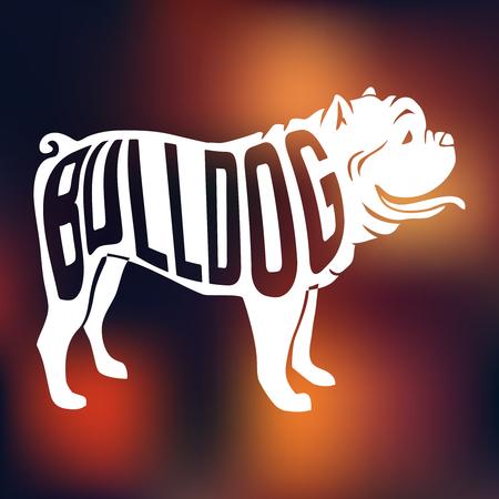 カラフルな犬 silhouetteon 内品種の創造的なデザインの名前には、背景がぼやけています。ベクトルの図。