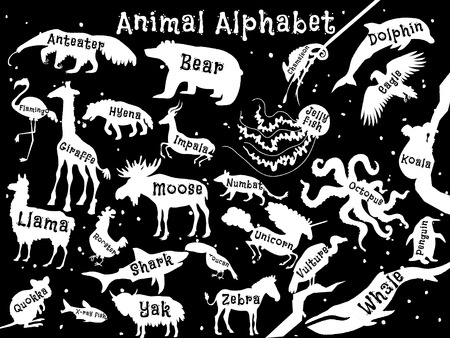 Animal alphabet poster for children. Animal silhouettes with names and letters inside. Poster concept. From a to z . Vector illustration Illustration