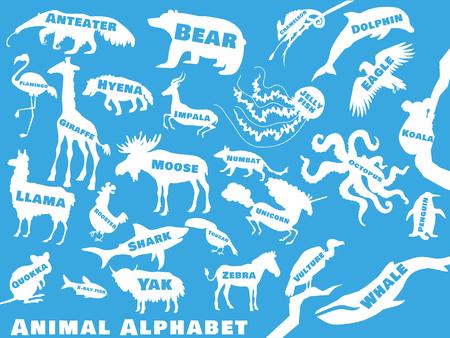 子供のための動物のアルファベット ポスター。名前と内の文字と動物のシルエット。ポスター コンセプト。Z に。ベクトル図