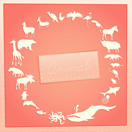 内のテキストと周りの動物のシルエットを持つ女の子のためのピンクのコンセプト ポスター。ベクトル図