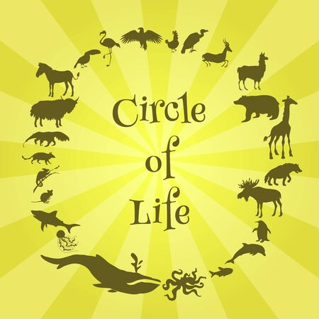 Concept poster with animals silhouettes around with text inside. Circle of life. Vector illustration Иллюстрация