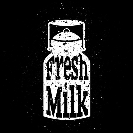 White scratched milk can on black background with text inside fresh milk. Concept poster. Vector illustration