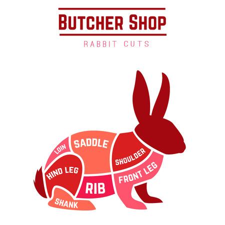 Rabbit cuts diagram for Butcher shop. Vector illustration Иллюстрация