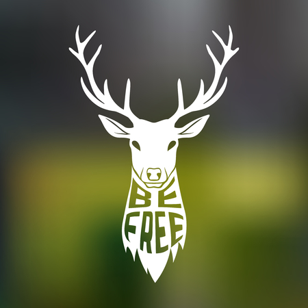 freedom logo: Concept silhouette of deer head with text inside be free on blur background. Vector illustration