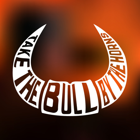 bullfight: Concept silhouette of horns with text inside take bull by the horns on blur background. Vector illustration