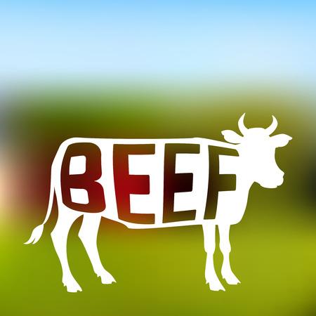 ファームの背景をぼかした写真にテキストを含む食肉牛のシルエット。ベクトル図  イラスト・ベクター素材