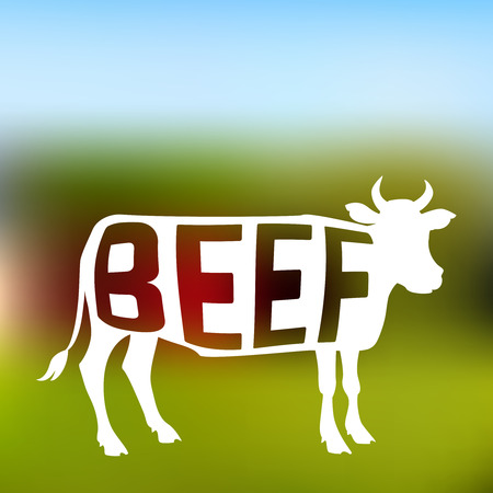 Silhouette of meat cow with text inside on blurred background of farm. Vector illustration