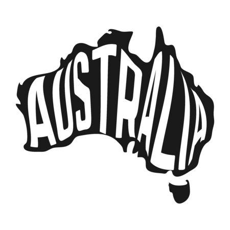 白い背景の中のテキストをオーストラリアの地図。ベクトル図