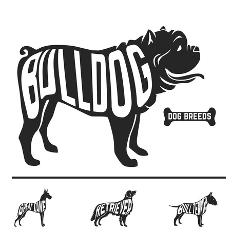Isolated dog breed silhouettes set with names of breeds inside on white baclground. Vector illustration Illustration