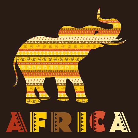 エスニック雑貨とアフリカ象概念。ベクトル図