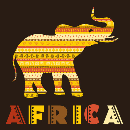 African elephant concept with ethnic ornaments. Vector illustration