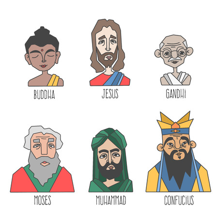 confucius: Different confession and religion famous men portraits set. Buddha, Jesus, Muhammad, Gandhi, Moses, Confucius. Vector illustration Illustration