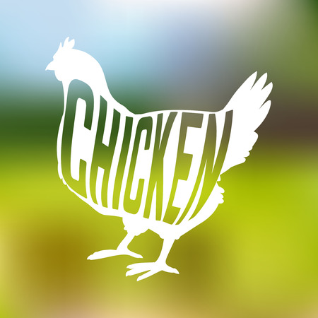 Silhouette of farm Hen black with text inside on blur background isolated. Vector illustration Иллюстрация