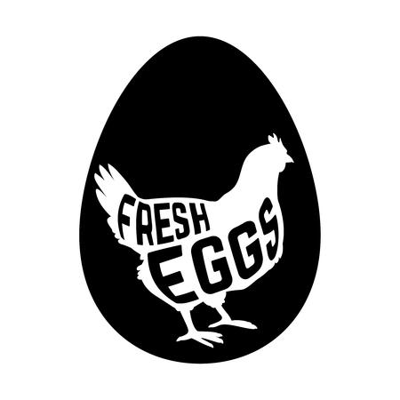 huevo: Huevo con el concepto de pollo silueta dentro sobre fondo blanco. Ilustración vectorial