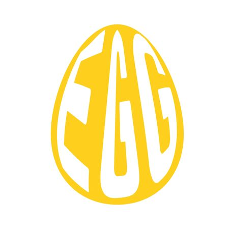 Silhouette of egg with text inside on background. Vector illustration