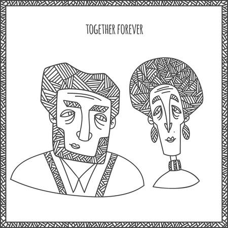珍しいエスニック ・ スタイルで幸せの古いカップルの肖像。手は、白い背景で隔離の行を描画します。ベクトル図