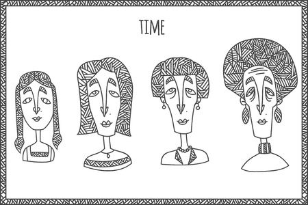 Woman life cycle from kid to grandmother. Hand drawn in unusual ethnic line style isolated on white background. Vector illustration