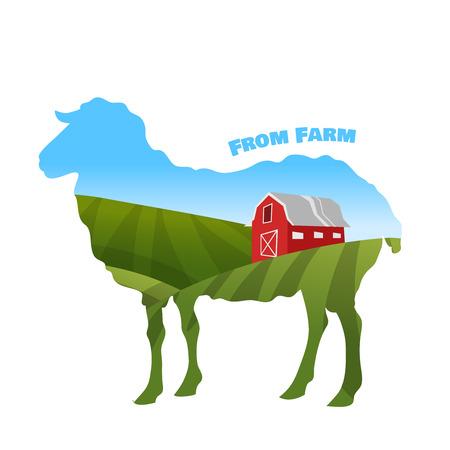 ovejas: Paisaje de la granja dentro de la silueta ovejas. Concepto de la granja ecológica. Vector illusatrtion