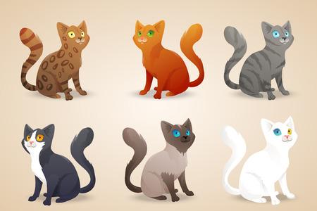 Conjunto de gatos lindos de la historieta con diferente color de piel y tipo de pelaje, razas. Foto de archivo - 43503741
