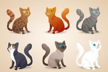 Set of cute cartoon cats with different colored fur and type of coat, breeds.