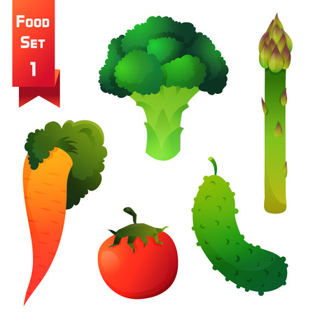 Set of juicy vegetables, green broccoli and asparagus with carrot, red tomato and cucumber isolated on white background. Vector illustration Illustration