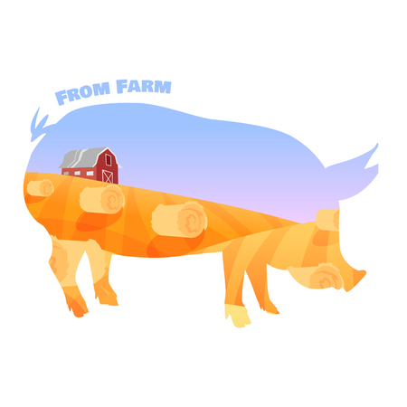 Pig silhouette with double exposure of beautiful farm landscape. Concept of fresh farming. Vector illustration
