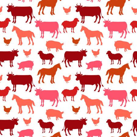 背景の色で美しいファーム動物シームレス パターン。.ベクトル図