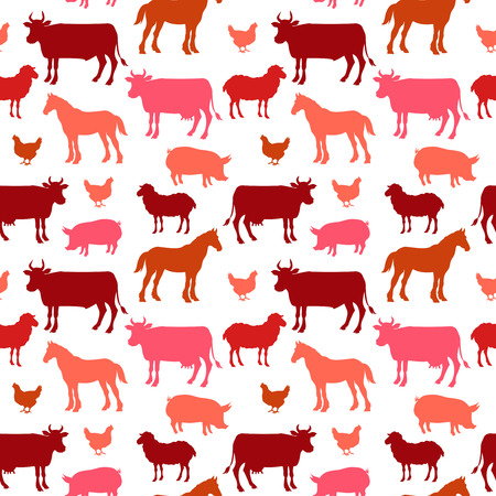 Beautiful farm animals seamless pattern in color for background. . vector illustration