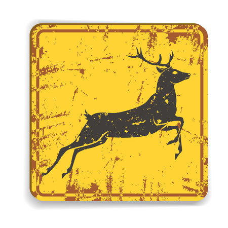 Old metal road warning sing with deer silhouette on yellow background. Vector illustration