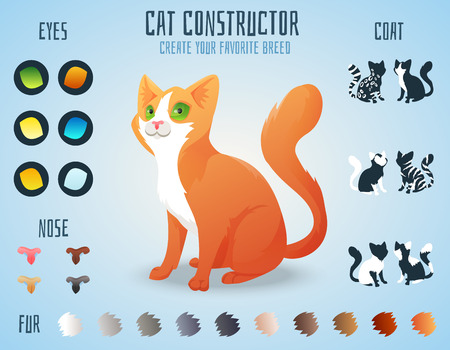 Cute cat breed constructor. You can create your own kitten breed. Change color, eyes, noses, types of coat. Vector illustration Ilustração
