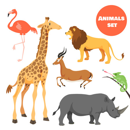 lion cartoon: Cute african animals set for kids in cartoon style. Suitable for logotype or emblem. Vector illustration