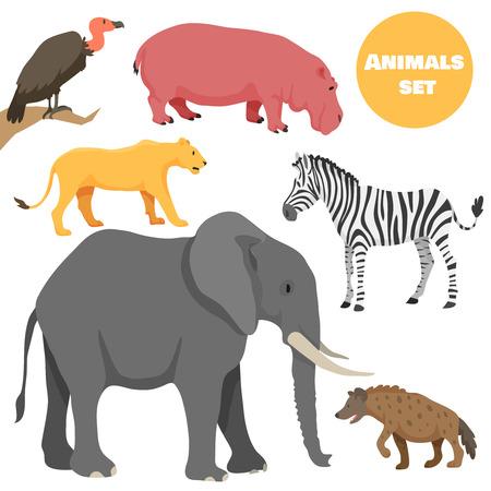 かわいいアフリカの動物漫画のスタイルで子供のために設定します。ロゴタイプやエンブレムに適しています。ベクトル図