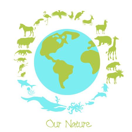 地球の周りの異なる動物のシルエット。環境問題とニューチャーネットワークス保存の概念。ベクトルの図。