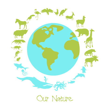 Different animal silhouettes in circle around the planet earth. Concept of eco problems and save nuture. Vector illustration.
