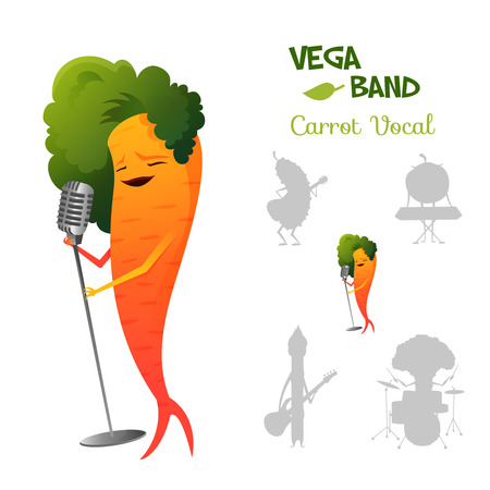 Pretty red carrot character singing a song in retro microphone with band. Vegaband collection. Vector illustration Vectores